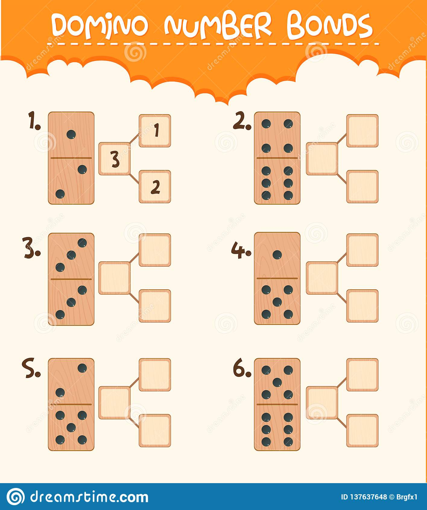 Wooden Domino Number Bond Stock Vector Illustration Of