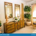 Wooden Dresser And Mirrors In Modern Bedroom Stock Image Image Of Bamboo Room 155745235