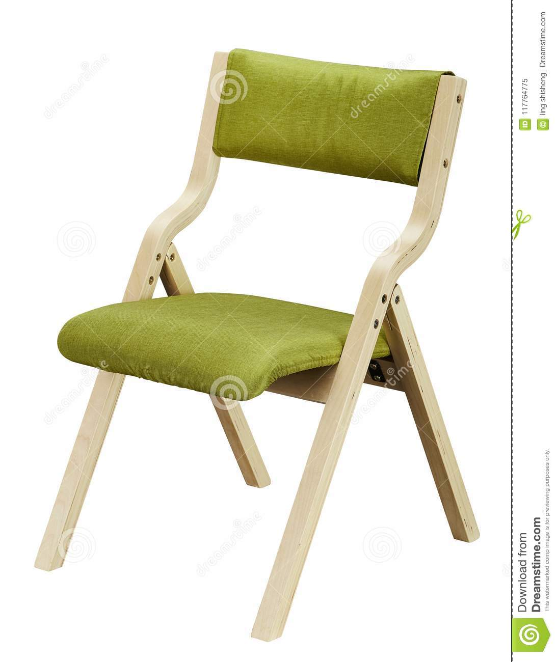 folding chair with cushion desk rug protector wooden stock image of seat 117764775 wrapped sponge its and backrest are green
