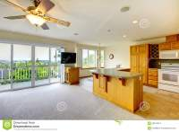 Wooden Golden Kitchen With Dining Room, TV And Lots Of ...