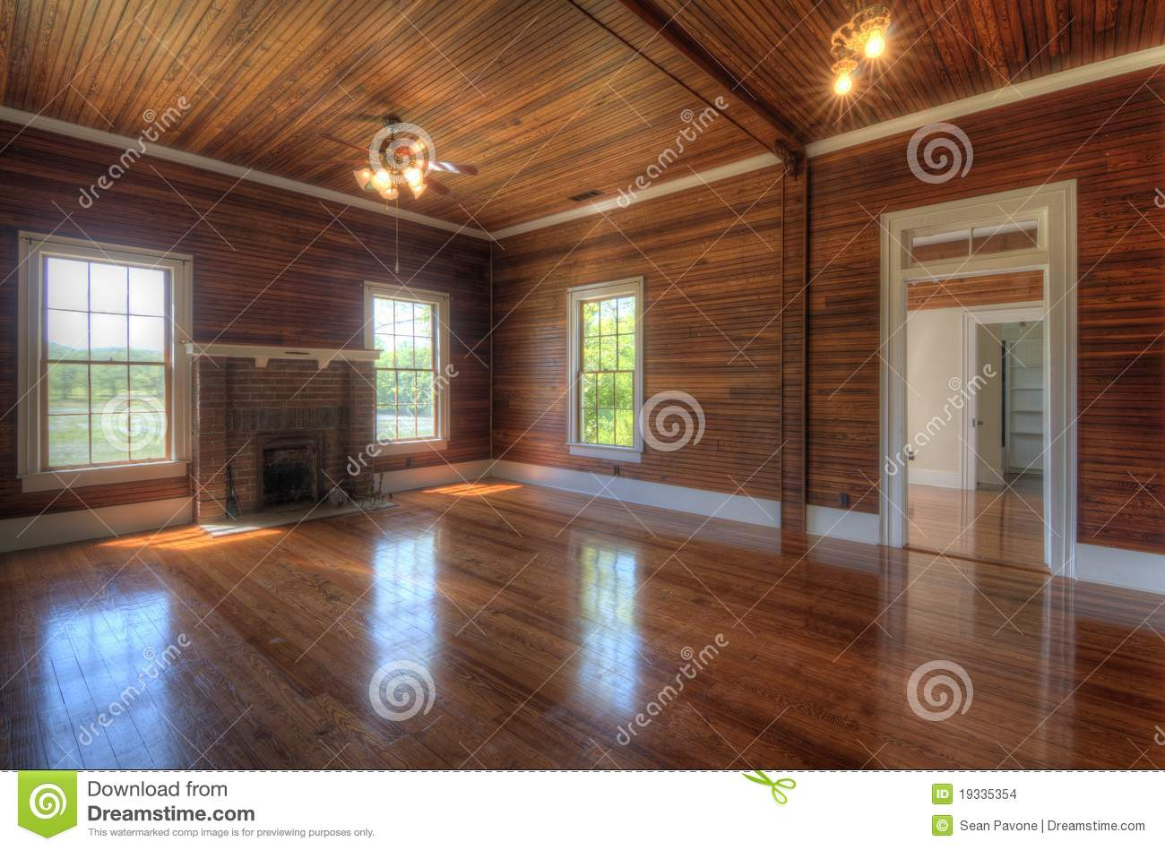 Wooden Interior Living Room Stock Photo  Image 19335354