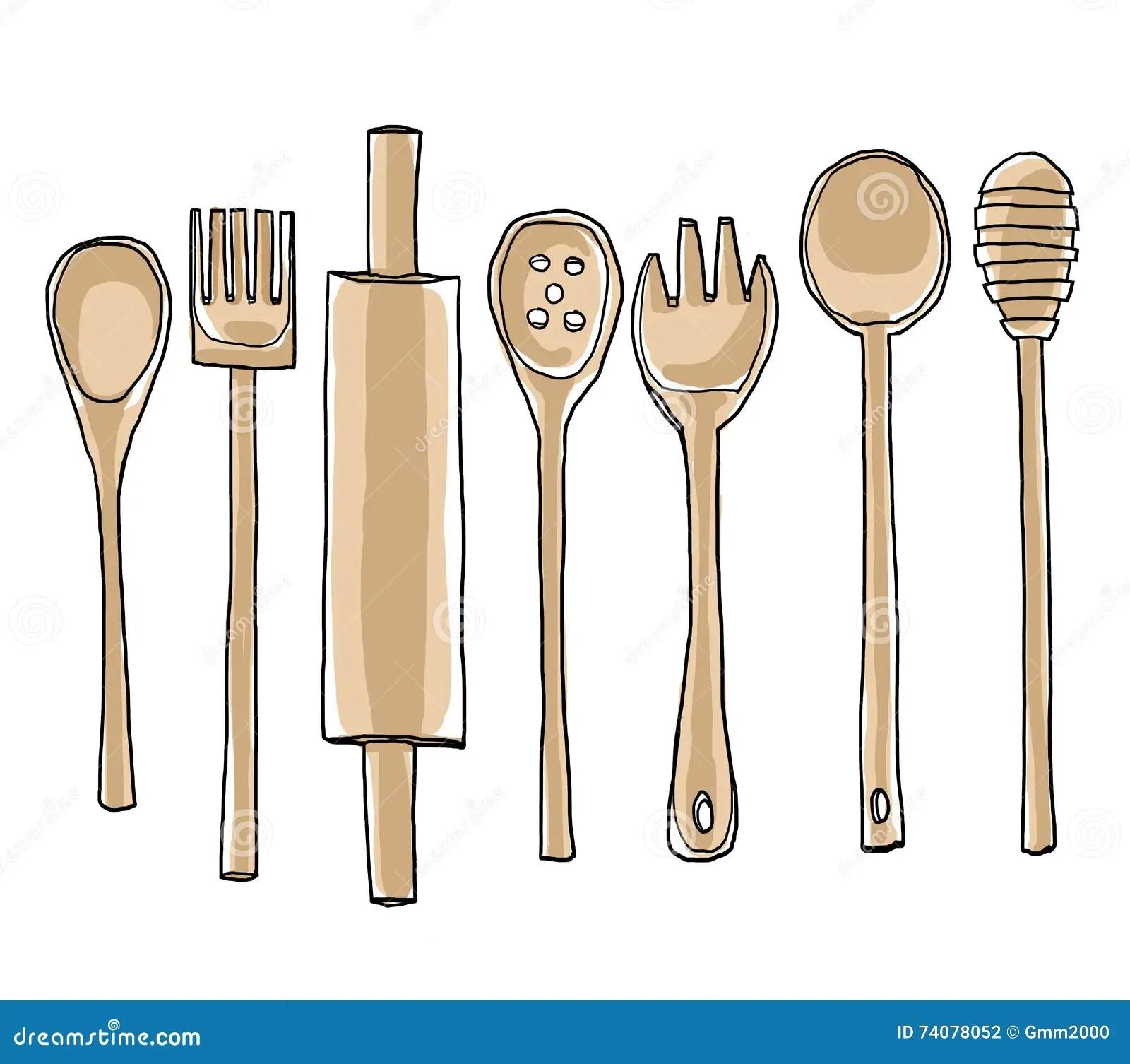 cute kitchen gadgets pantry cabinets freestanding hand drawn utensils cartoon vector cartoondealer