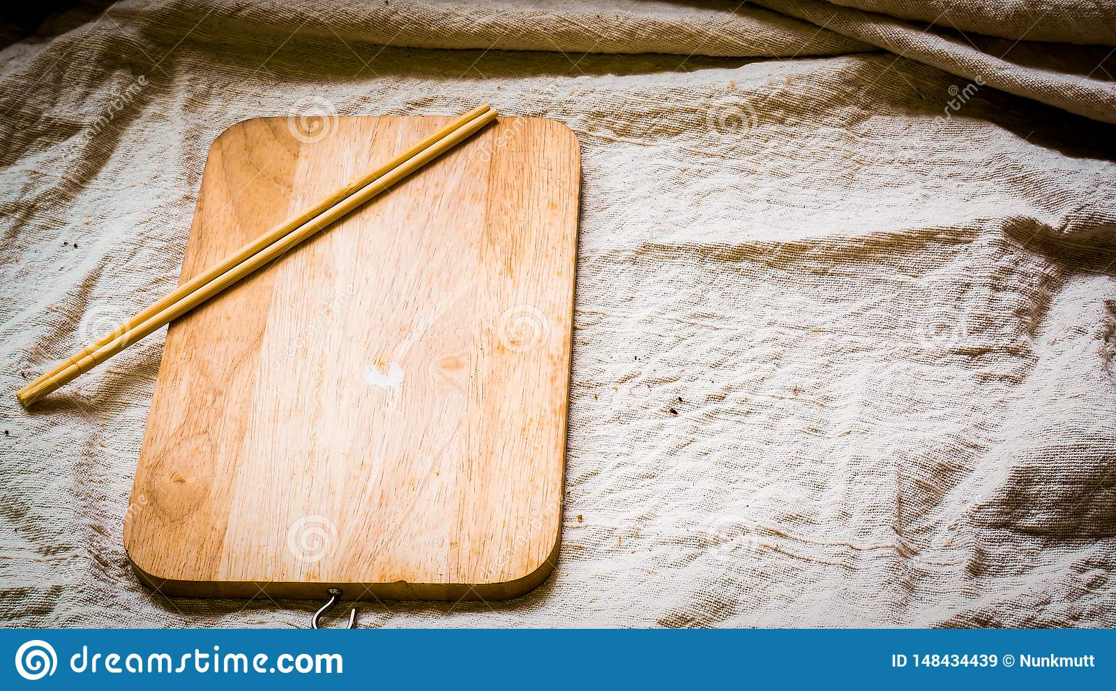 Wooden Plate Blank With Chopsticks Cooking Food Menu Idea
