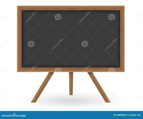 Wooden School Board Writing Chalk Vector Illus Stock