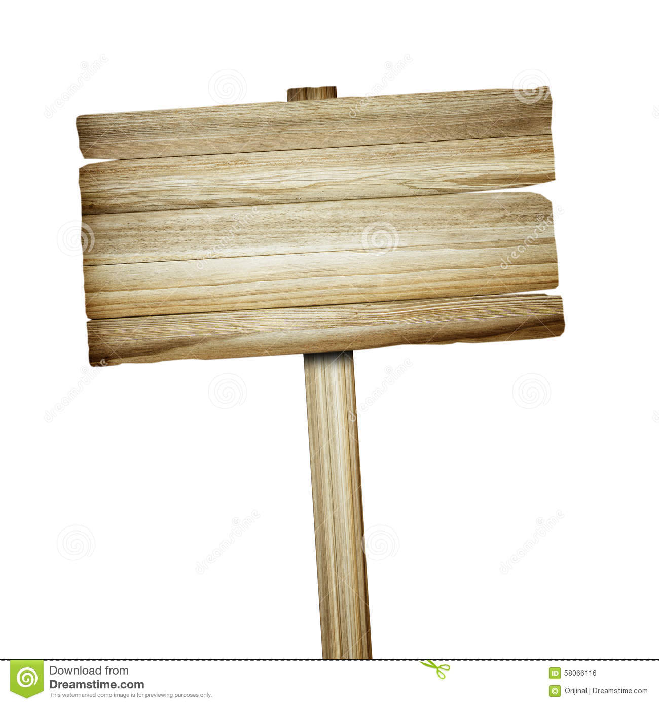 Wooden Sign Isolated On White Wood Old Planks Sign Stock