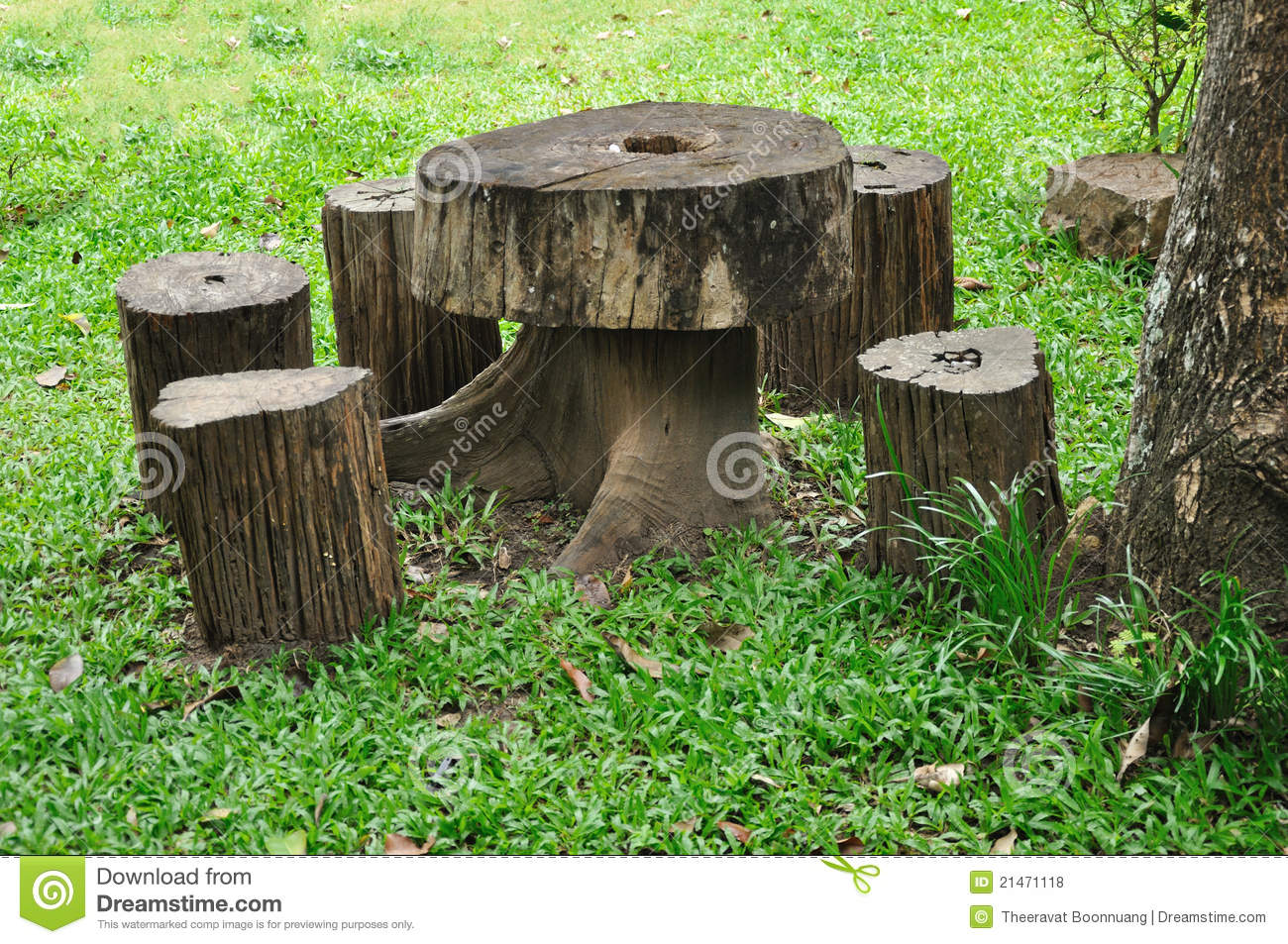 tree stump chairs rosewood dining danish wooden chair and table royalty free stock photos