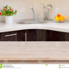 Fruit Decor For Kitchen Cabinets Wholesale Wooden Table On Faucet Interior Background Stock ...