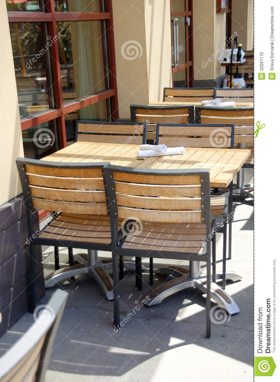 Restaurant Chairs And Tables Wooden Tables And Chairs In Outdoor Restaurant Stock Photo Image