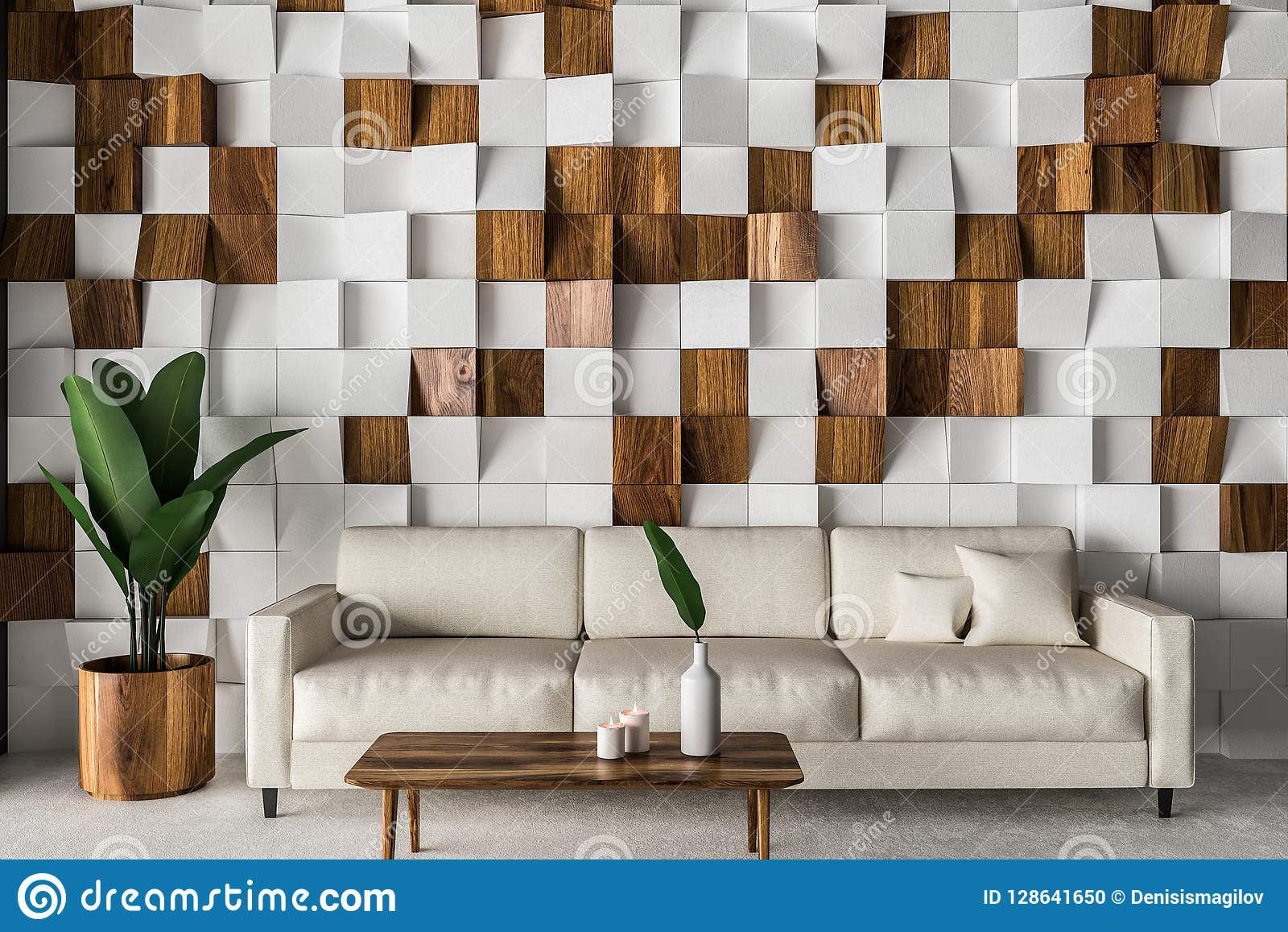tiled living room simple tv unit design for wooden tiles interior white sofa stock illustration and wall with concrete floor coffee table 3d rendering