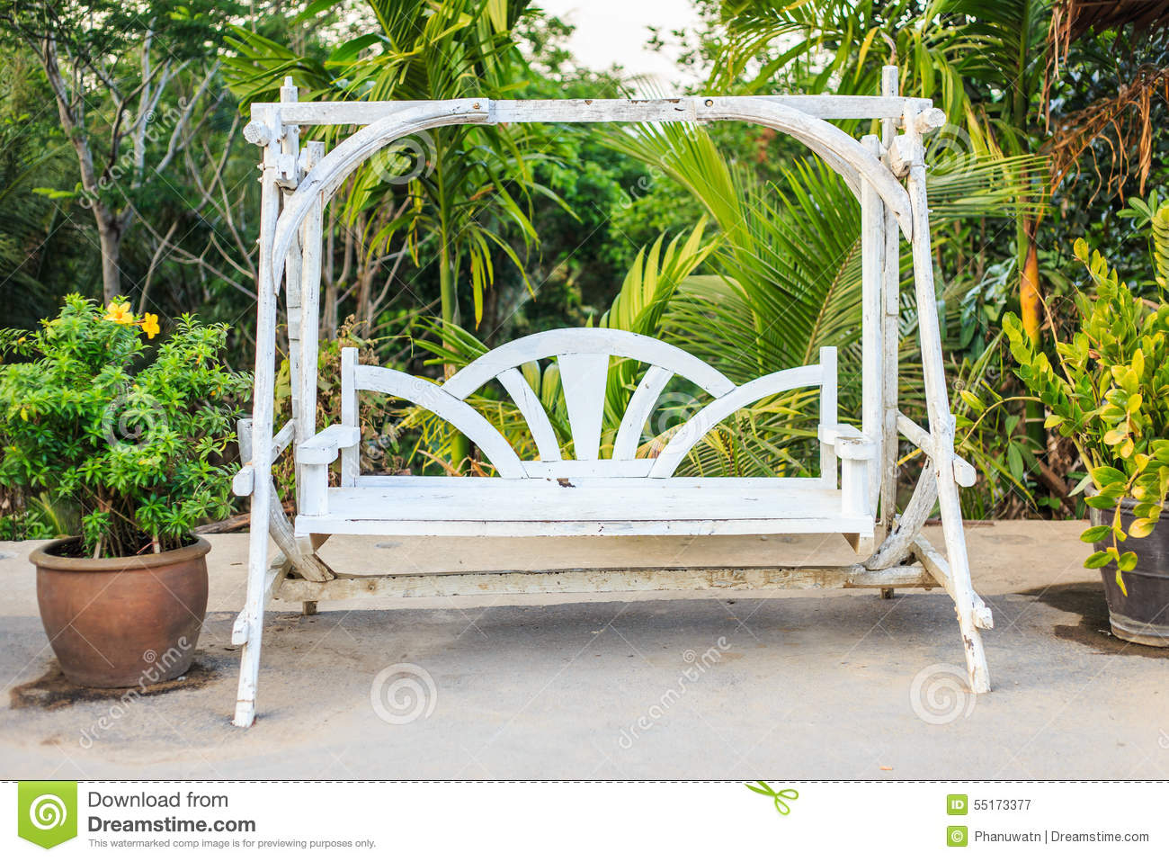 swing chair thailand french country kitchen table and chairs wooden white stock image of recreation wood