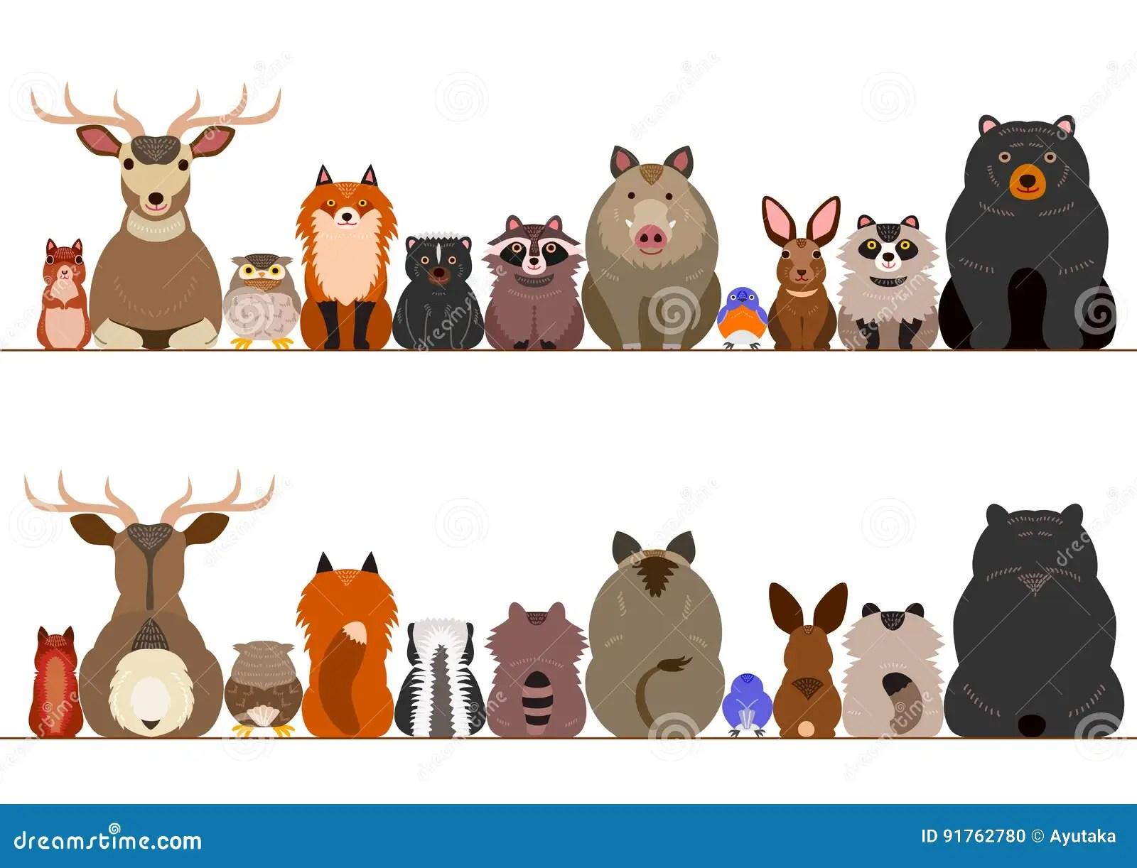 Woodland Animals Border Set Stock Vector