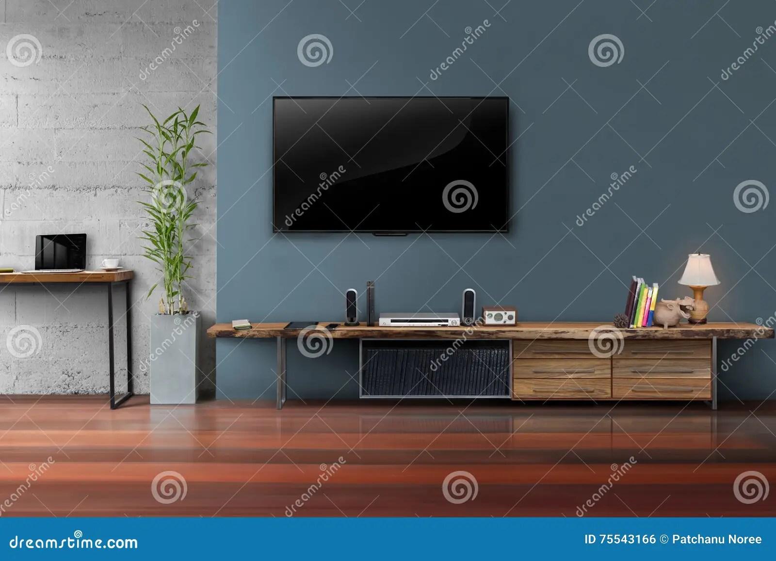 Woonkamer Geleide TV Op Donkerblauwe Muur Met Houten Lijst