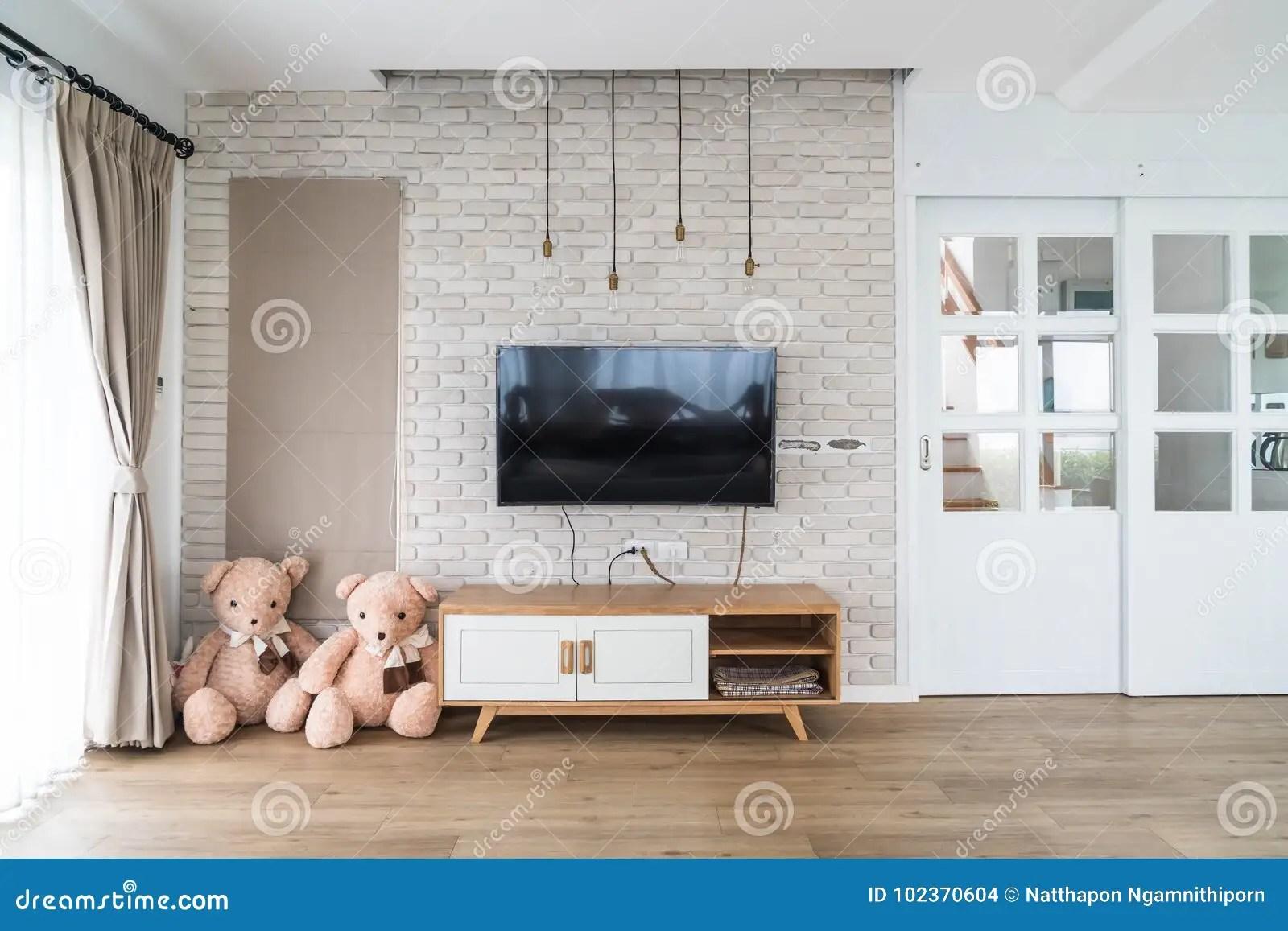 Stenen Muur Verven : Woonkamer met bakstenen muur comfortabele woonkamer met een muur