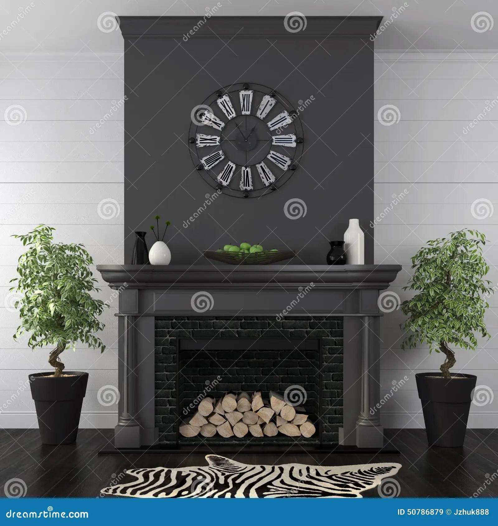 Woonkamer Met Zwarte Open Haard In Klassieke Stijl Stock