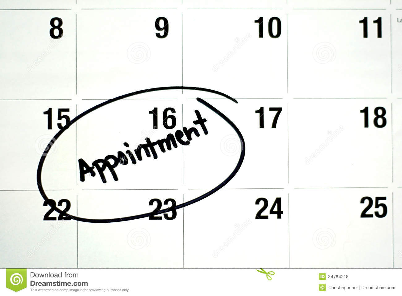 Word Appointment Circled On Calendar Royalty Free Stock