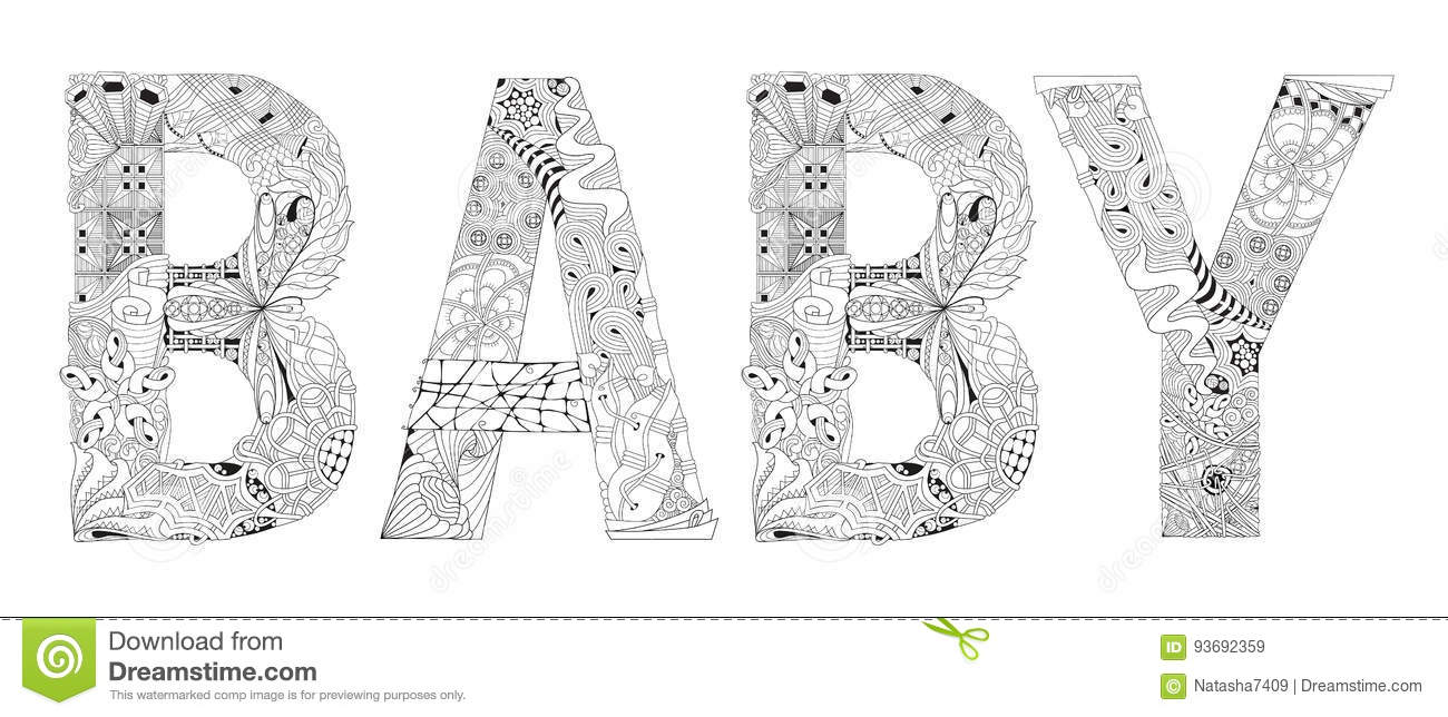 Word BABY For Coloring. Vector Decorative Zentangle Object