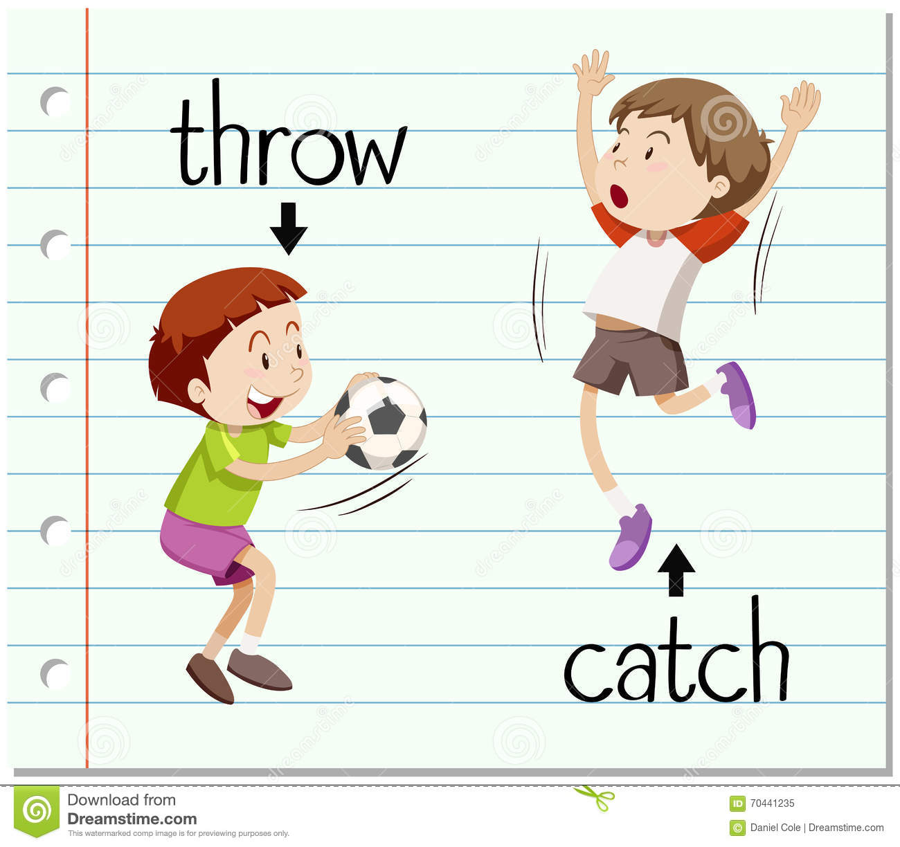 Word Card Throw And Catch Stock Vector Illustration Of