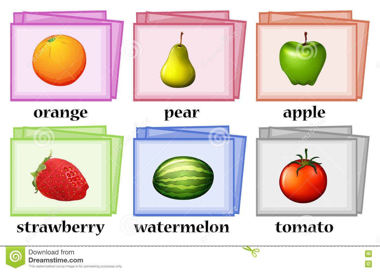 Word Cards For Fruits And Vegetables Stock Vector