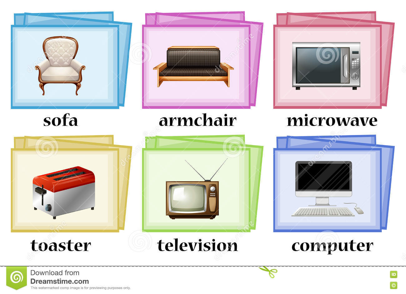Word Cards With Objects In The House Set Stock Vector