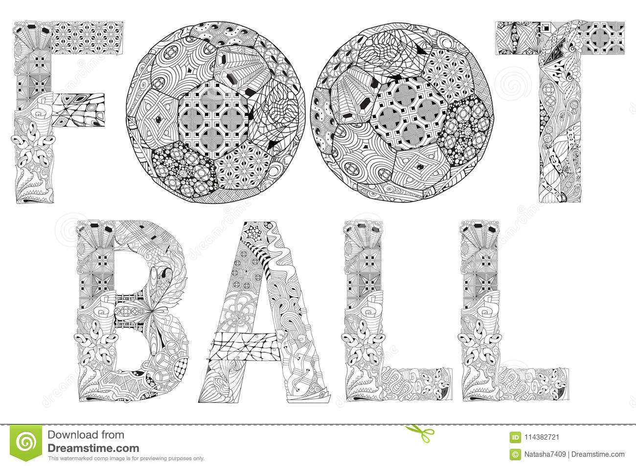 Word Football For Coloring. Vector Decorative Zentangle