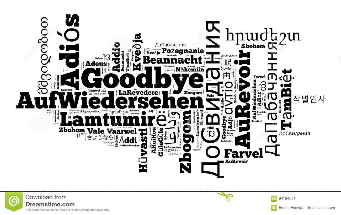 Word Goodbye In Different Languages Stock Illustration