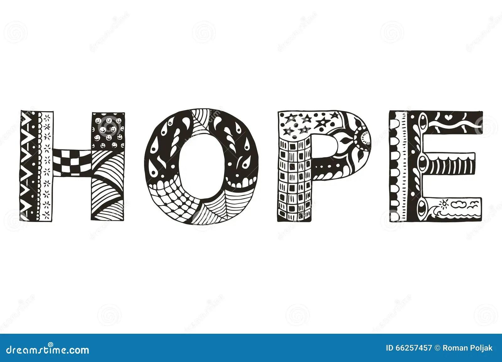Word Hope Zentangle Stylized, Vector, Illustration