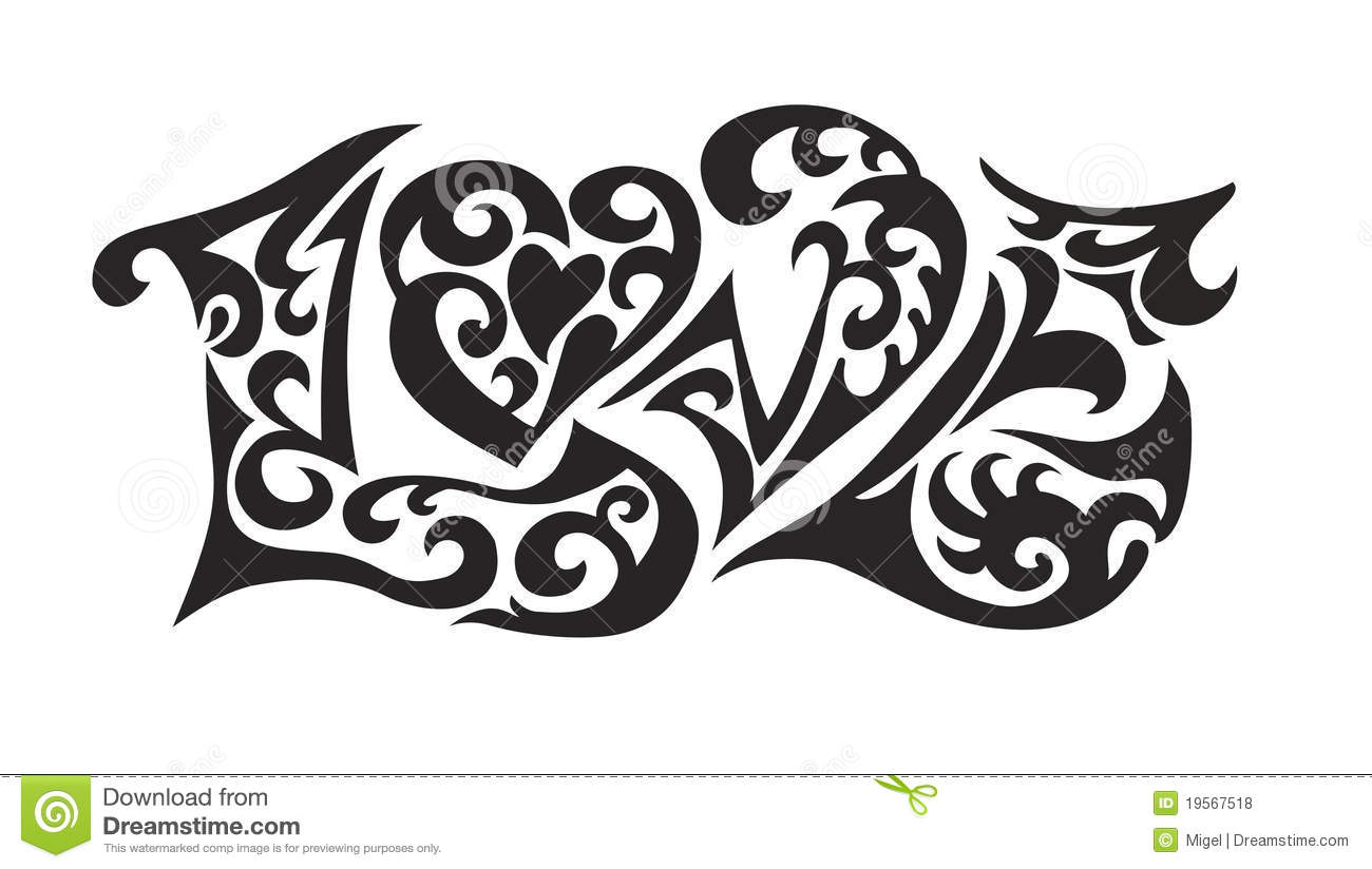 Word Logo Love Tatoo Stock Vector Image Of Beauty