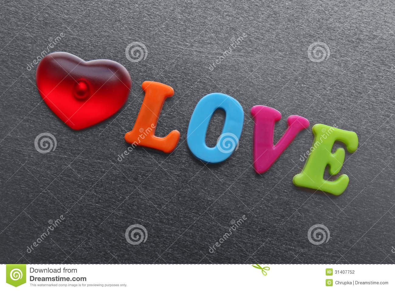 Word Love With Red Heart Spelled Out Using Colored Fridge Magnets Stock Photo  Image of
