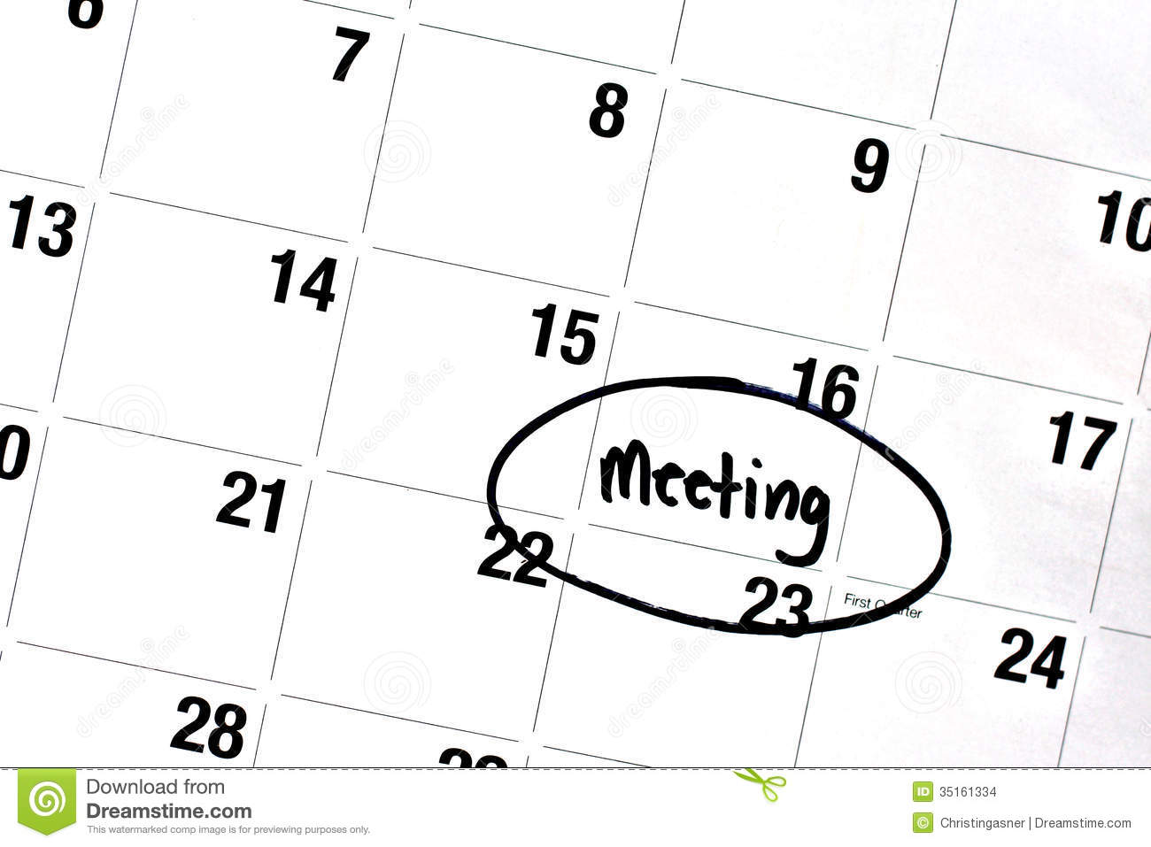 Word Meeting Written And Circled On Calendar Stock Images