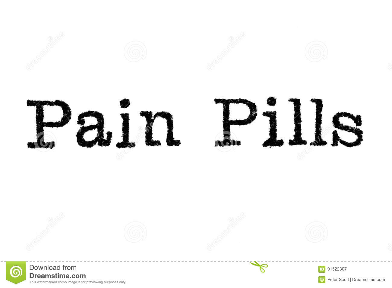 The Word `Pain Pills` From A Typewriter On White Stock