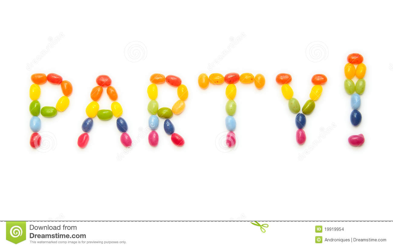 Word Party Made Of Jelly Beans Sweets Stock Photo