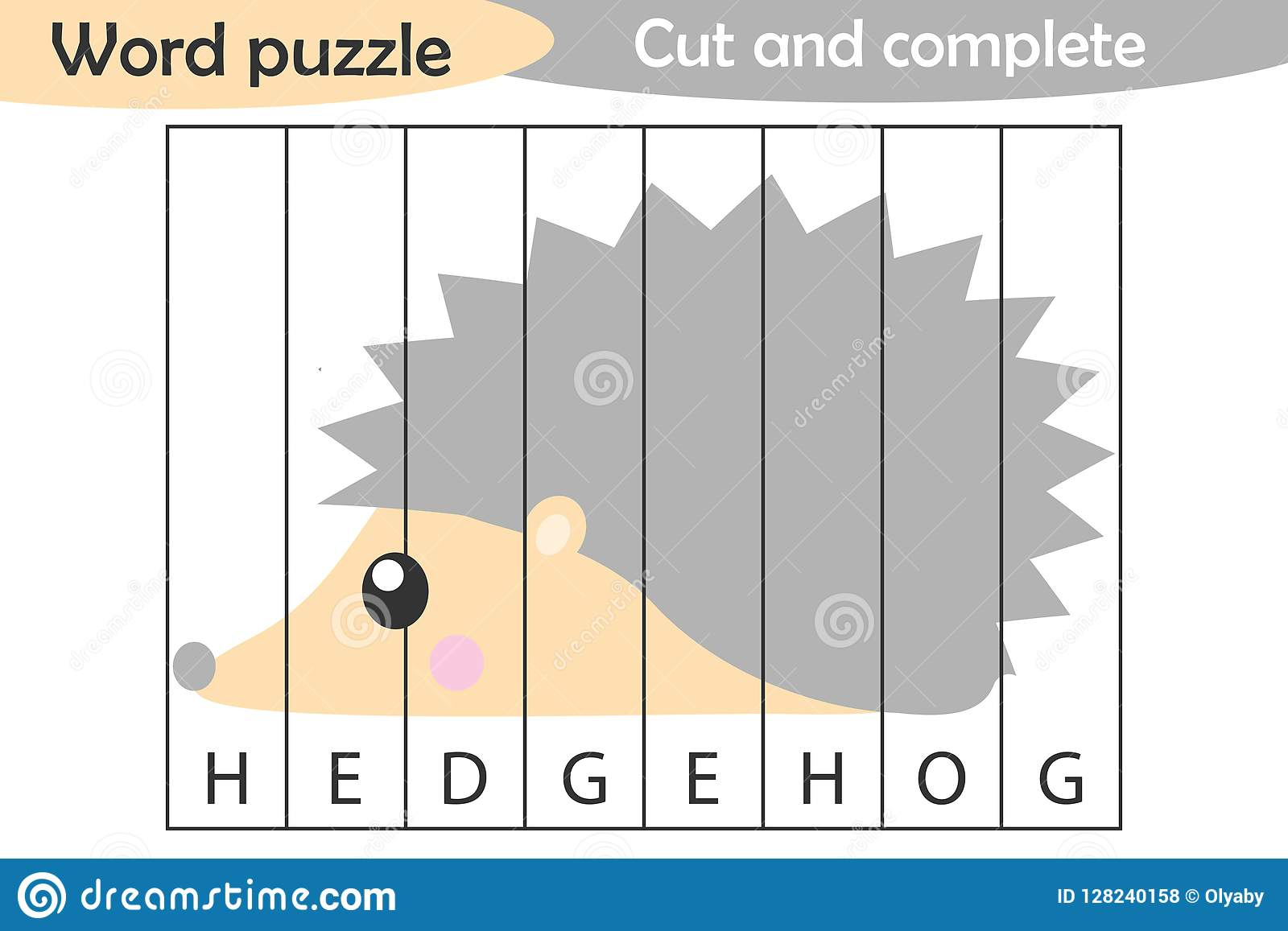 Word Puzzle Hedgehog In Cartoon Style Education Game For