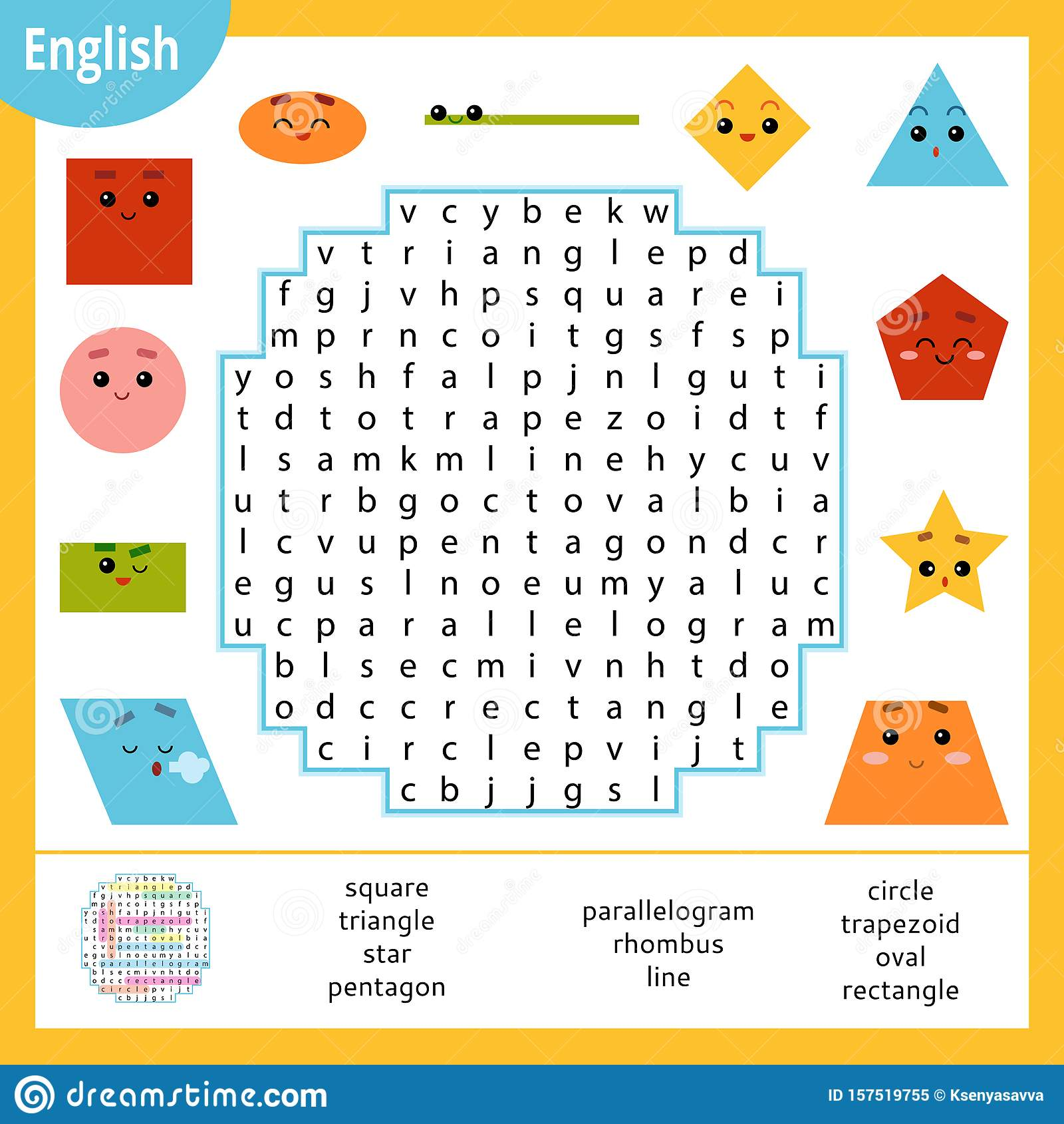 Word Search Puzzle Cartoon Set Of Geometric Shapes