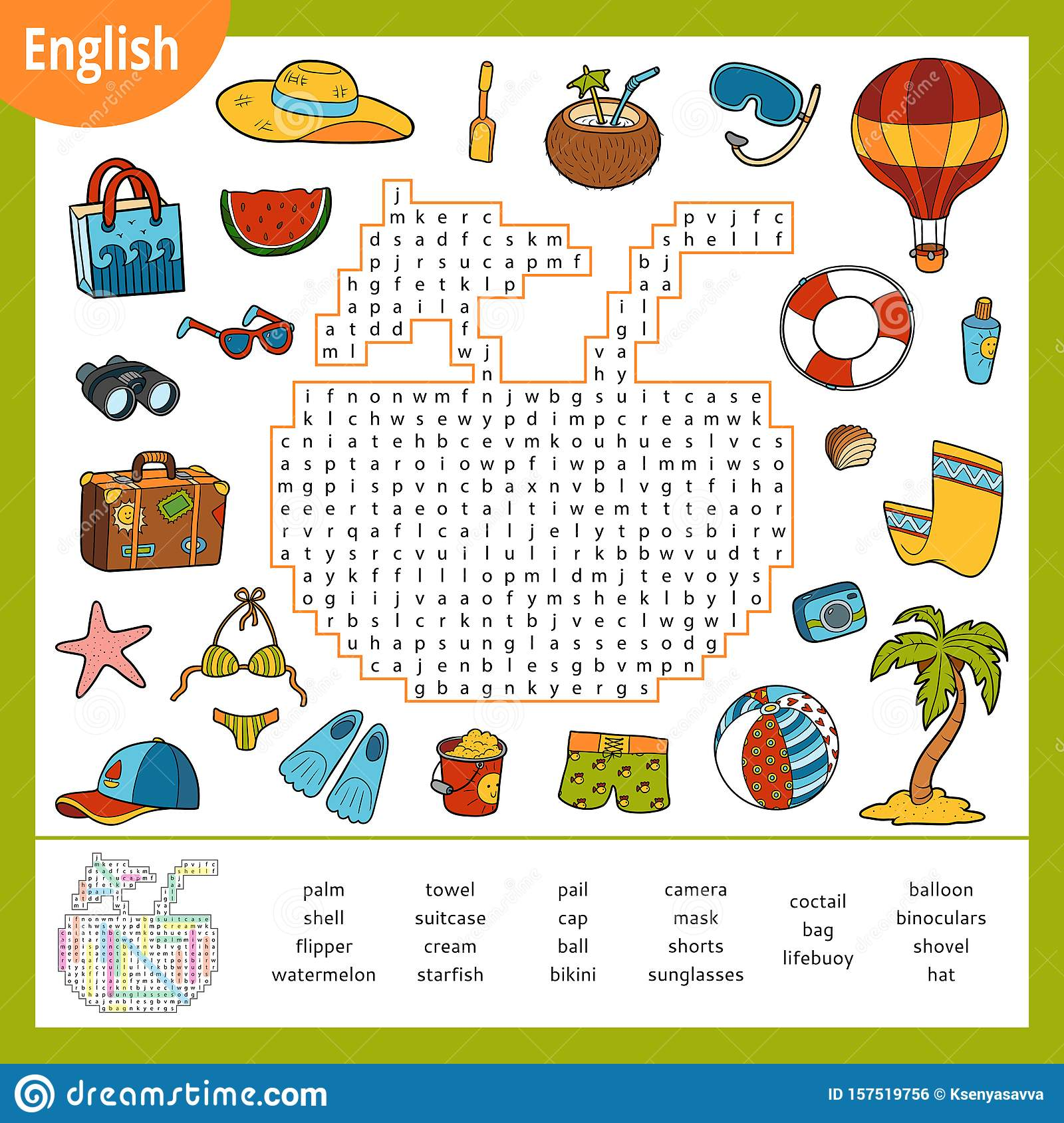 Word Search Puzzle Cartoon Set Of Summer And Holidays