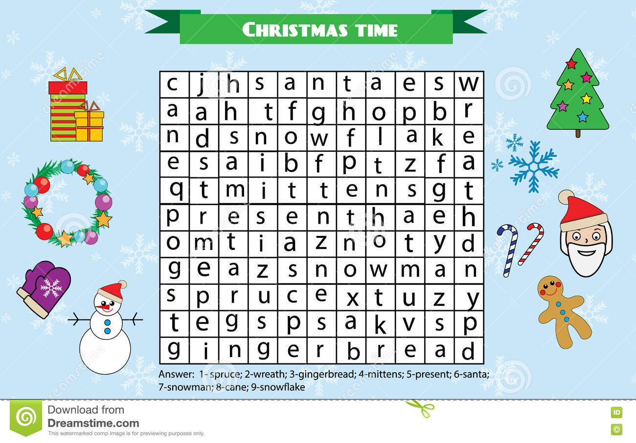 Word Search Puzzle For Children Educational Game Christmas Winter Holidays Theme Stock Vector