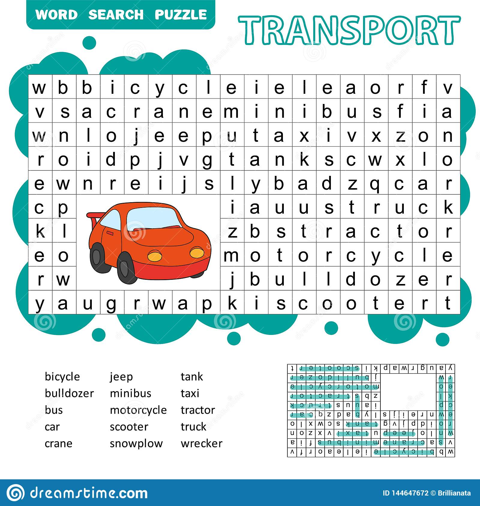Word Search Puzzle For Children Transport Theme Fun
