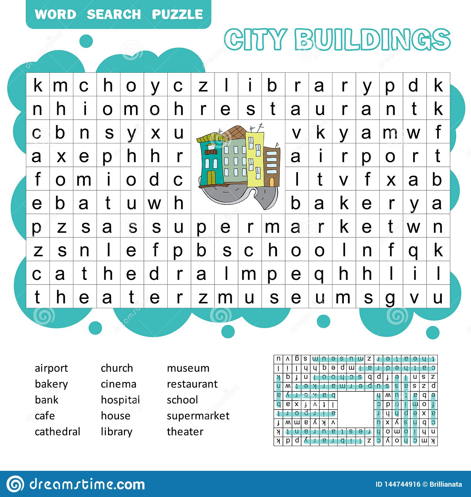 Word Search Puzzle Vector Game About City Buildings
