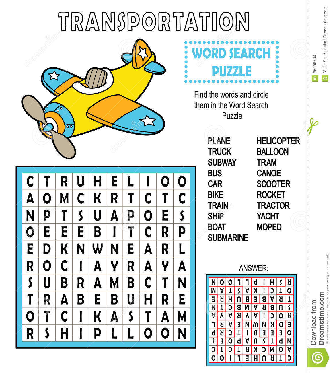 Word Search Transportation Stock Vector