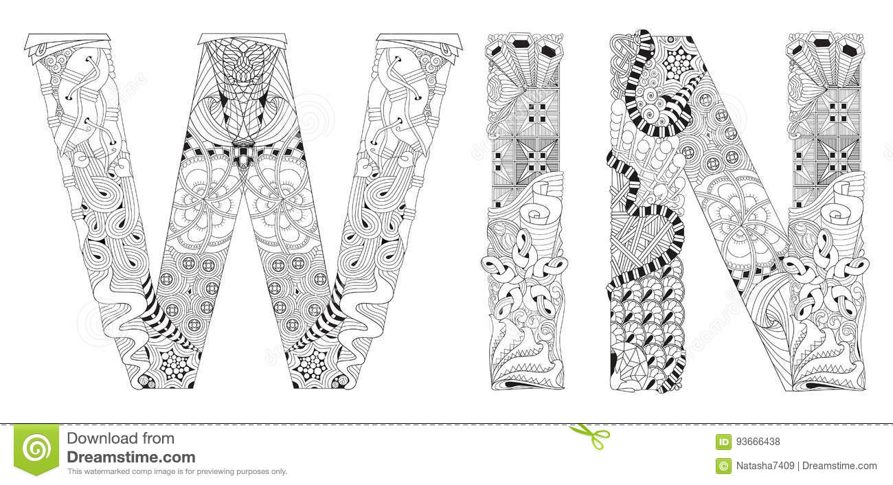 Word Win For Coloring. Vector Decorative Zentangle Object