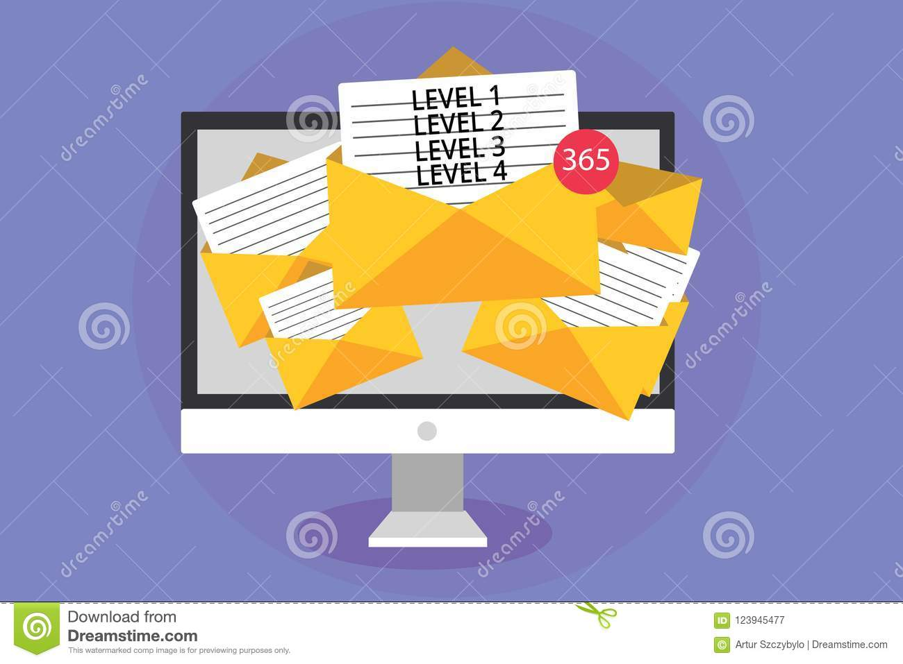 hight resolution of word writing text level 1 level 2 level 3 level 4 business concept for steps levels of a process work flow computer receiving emails important messages