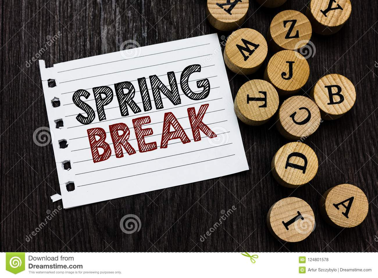 Word Writing Text Spring Break Business Concept For