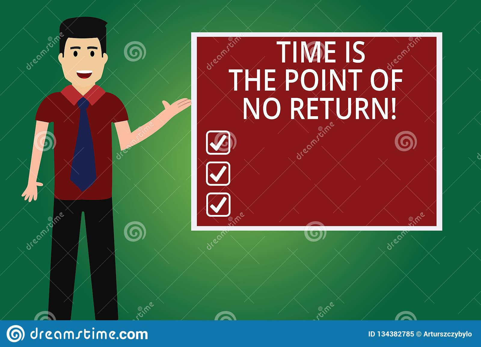 Word Writing Text Time Is The Point Of No Return. Business Concept For Do Not Stop What You Are Doing Motivation Man With Tie Stock Illustration ...