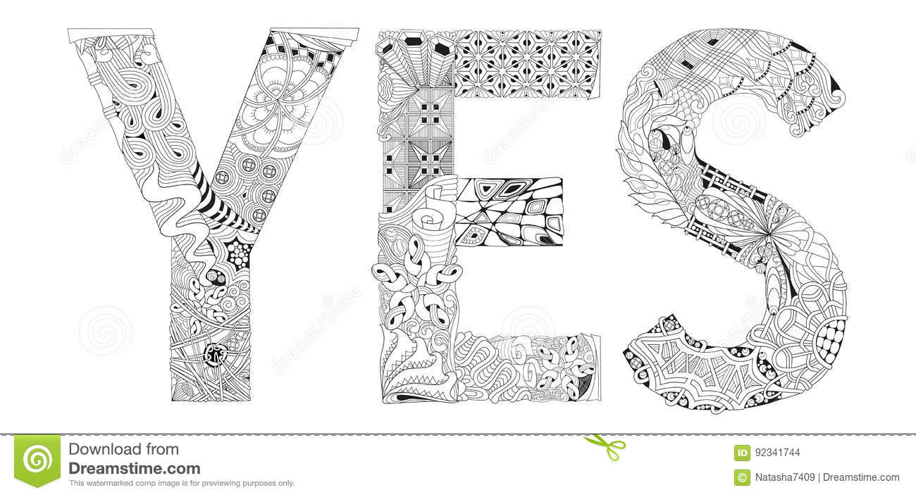 Word Yes For Coloring. Vector Decorative Zentangle Object