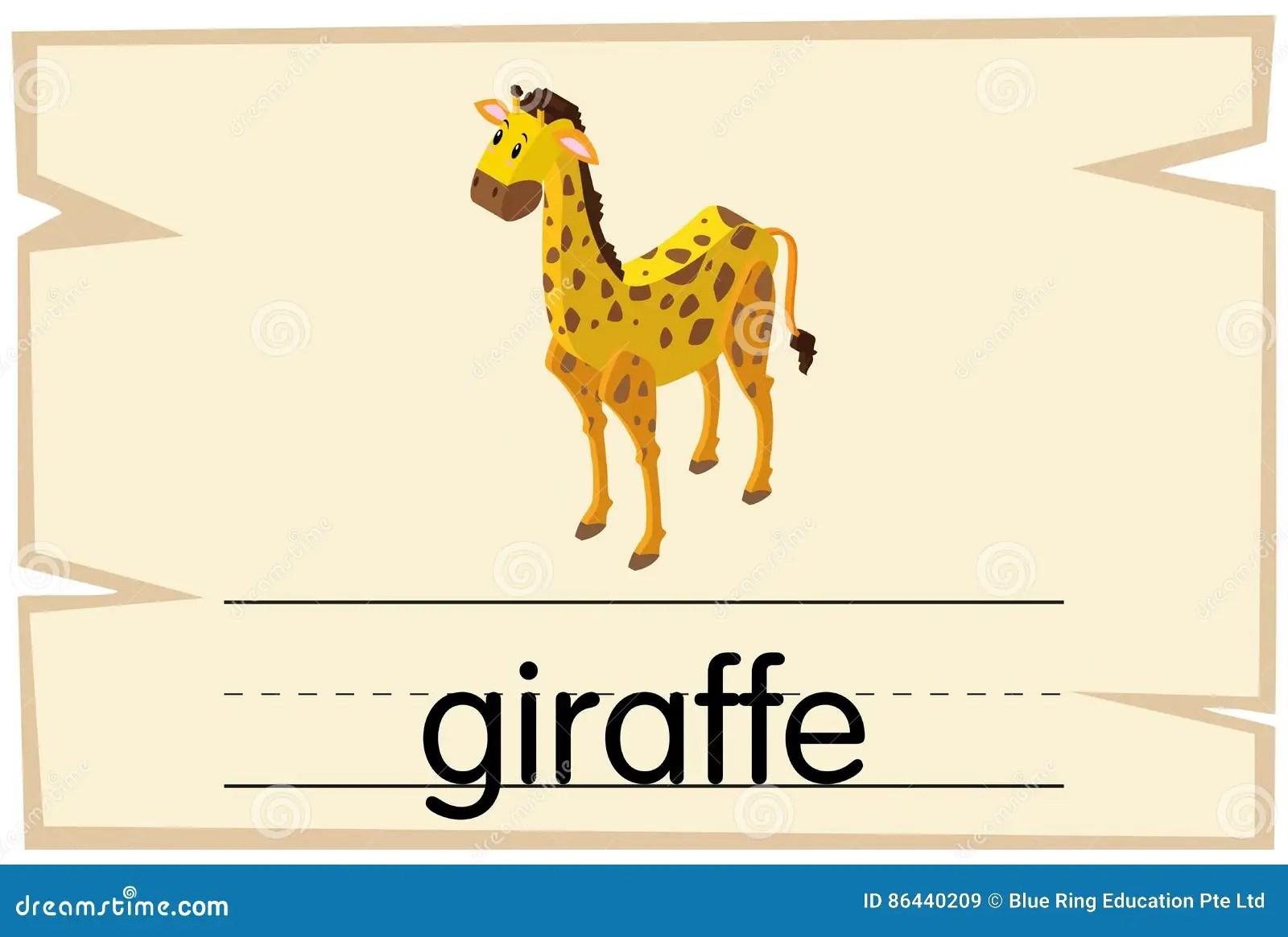 Wordcard Design For Word Giraffe Stock Vector