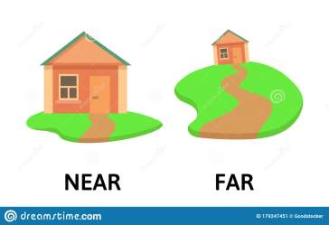 far near cartoon opposite card explanation vector illustration adverbs isolated words flat field preview
