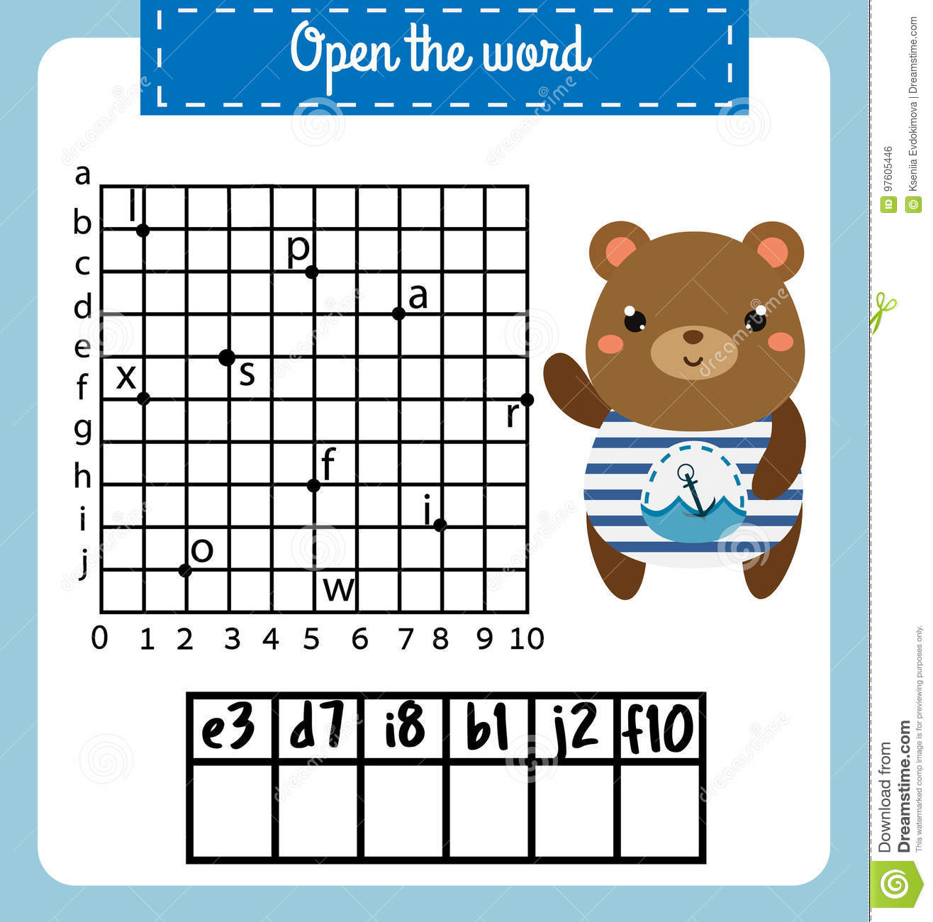 Words Puzzle Children Educational Game With Coordinate