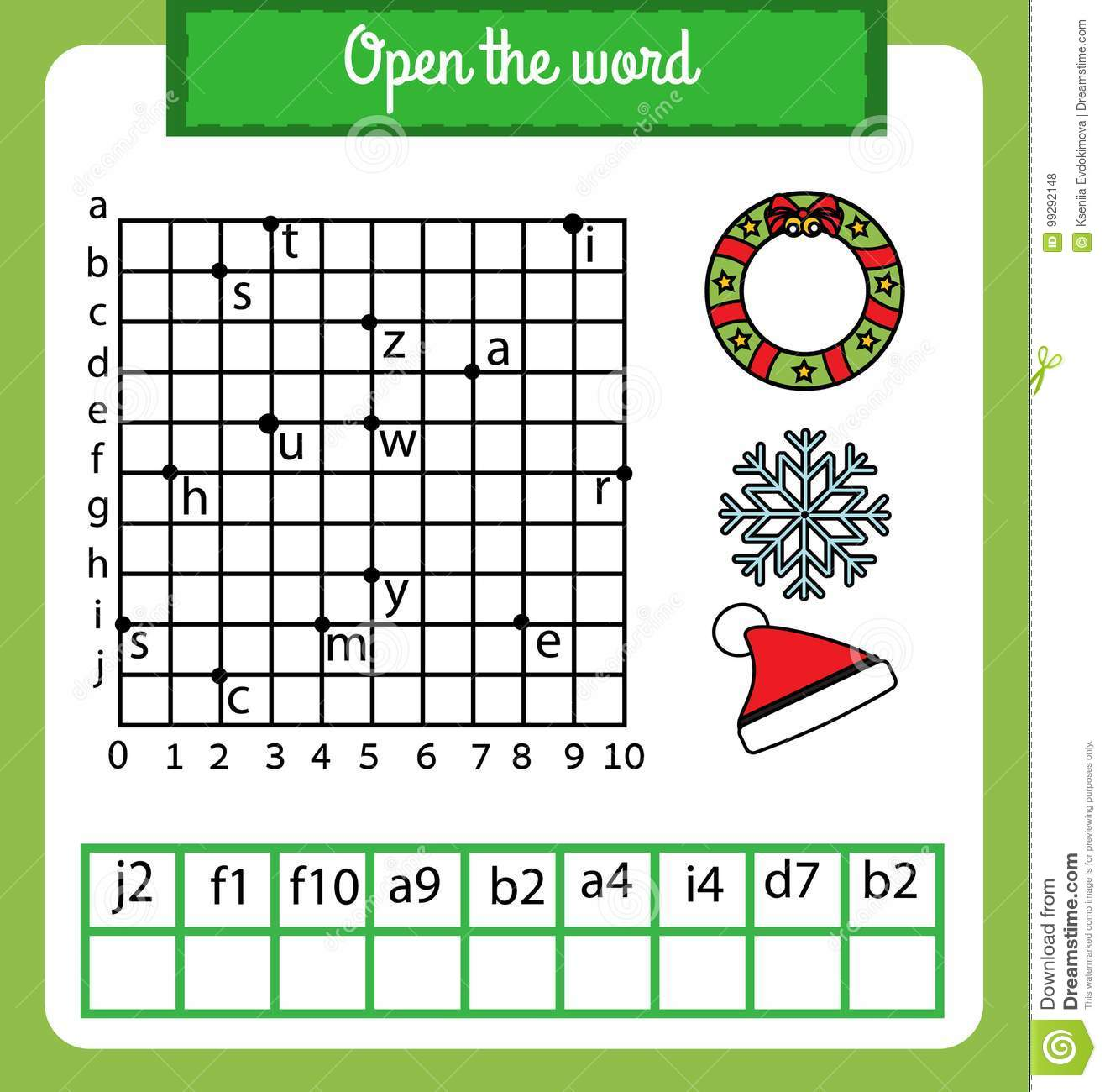 Words Puzzle Children Educational Game With Coordinate Grid Place The Letters In Right Order