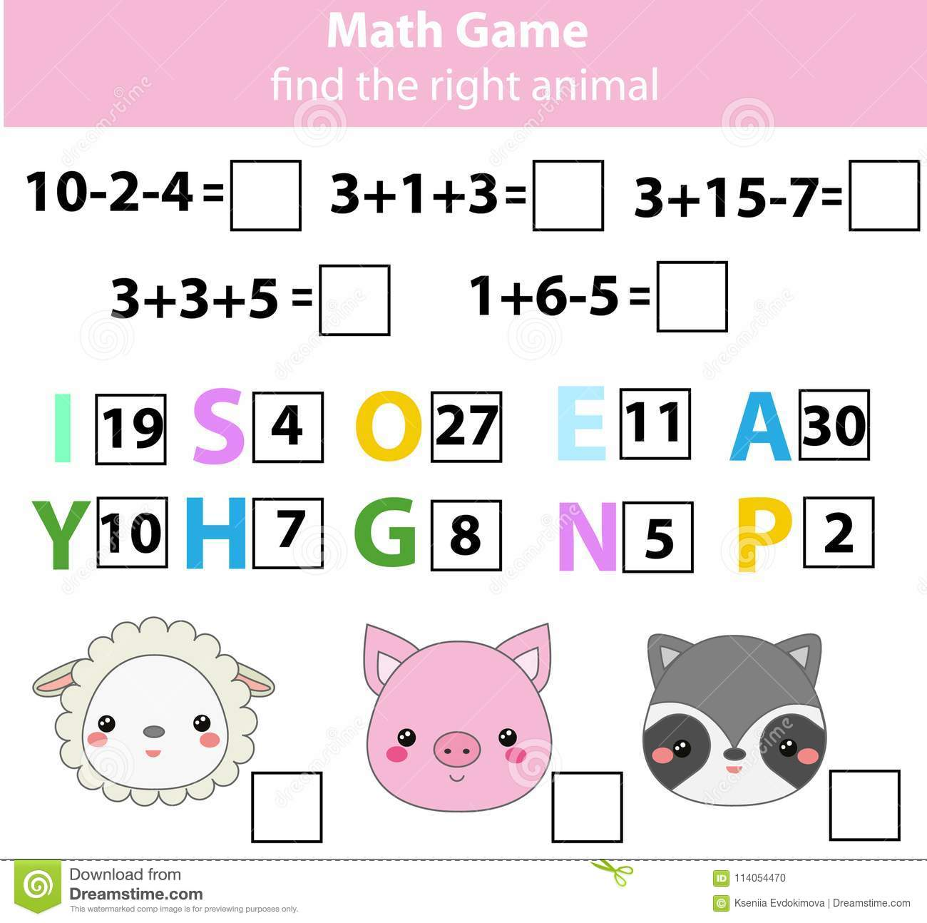 Words Puzzle Children Educational Game With Mathematics