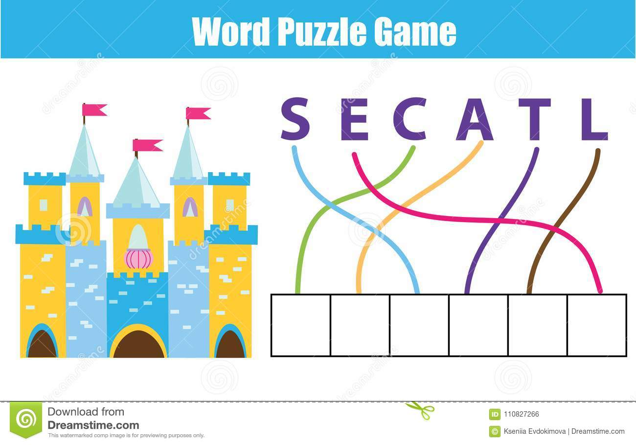 Words Puzzle Children Educational Game Place The Letters