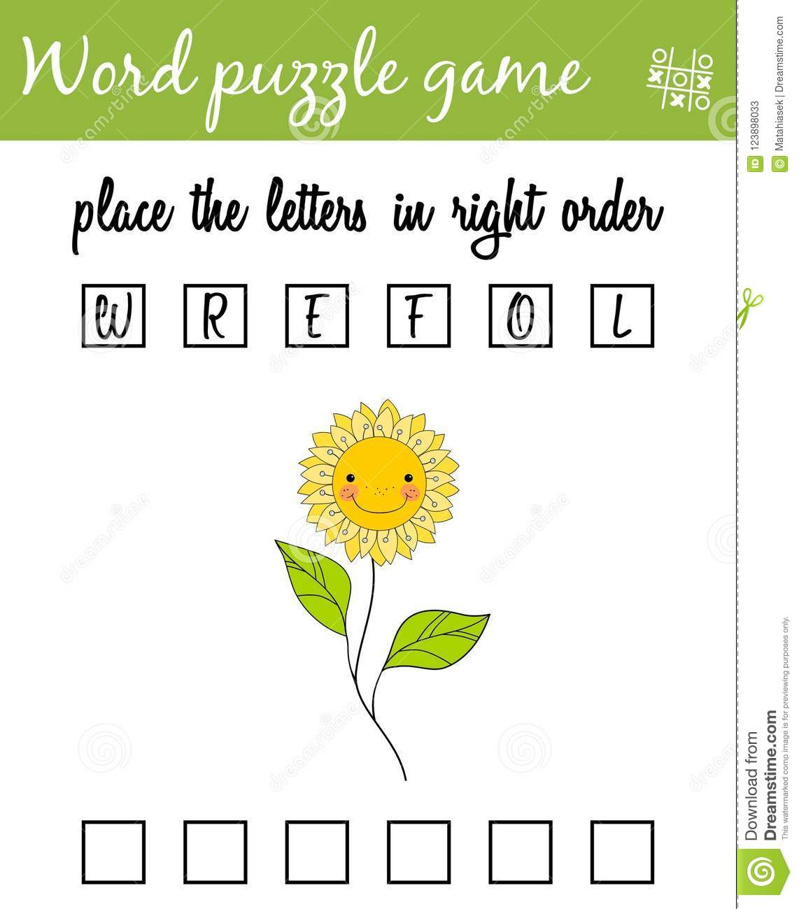 Words Puzzle Game With Flower Place The Letters In Right